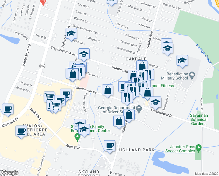 map of restaurants, bars, coffee shops, grocery stores, and more near 301 Noble Oaks Drive in Savannah