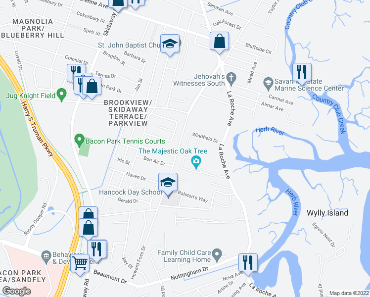 map of restaurants, bars, coffee shops, grocery stores, and more near 123 Windfield Drive in Savannah