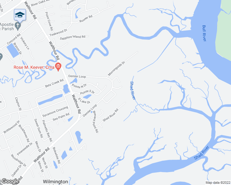 map of restaurants, bars, coffee shops, grocery stores, and more near 106 Sweet Bailey Cove in Savannah