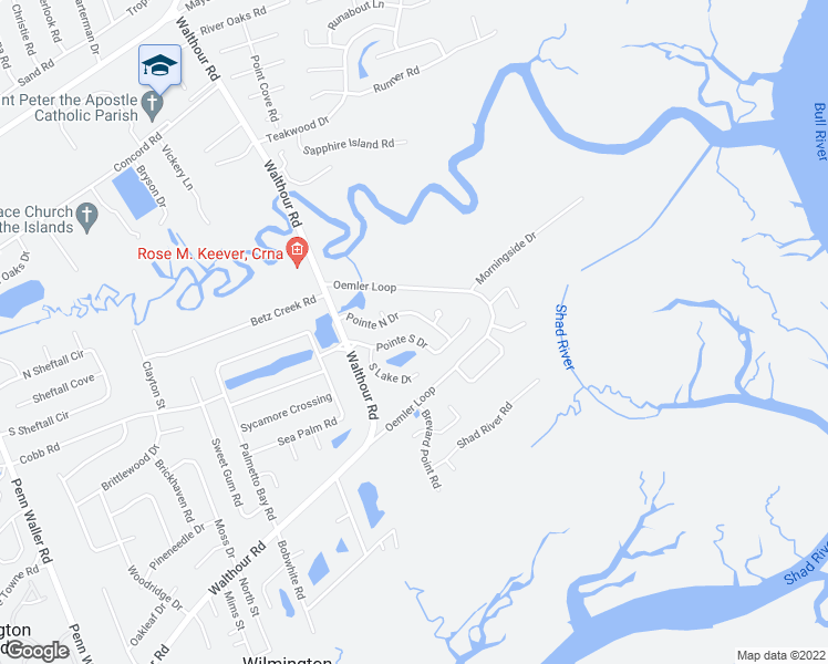 map of restaurants, bars, coffee shops, grocery stores, and more near 526 Pointe South Drive in Savannah