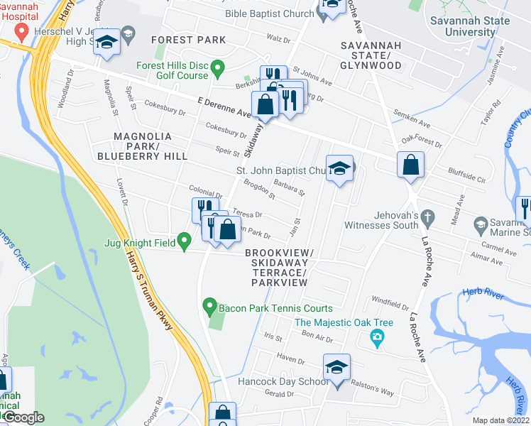 map of restaurants, bars, coffee shops, grocery stores, and more near 2204-2206 Teresa Drive in Savannah