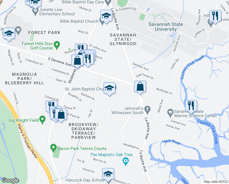 map of restaurants, bars, coffee shops, grocery stores, and more near 2415 East DeRenne Avenue in Savannah