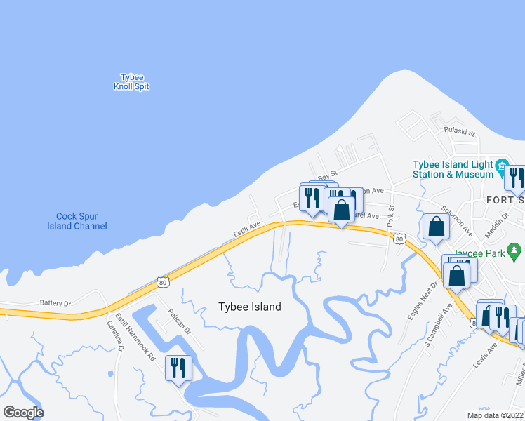 map of restaurants, bars, coffee shops, grocery stores, and more near 12 Sanctuary Place in Tybee Island