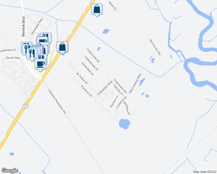 map of restaurants, bars, coffee shops, grocery stores, and more near 10 Valleydale Way in Savannah