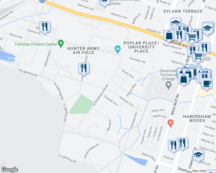 map of restaurants, bars, coffee shops, grocery stores, and more near 1 Gannam Avenue in Savannah