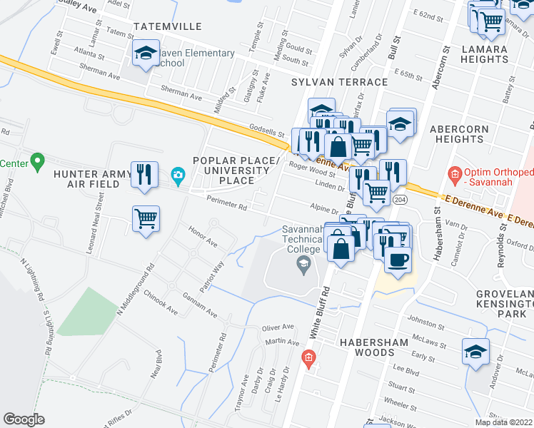 map of restaurants, bars, coffee shops, grocery stores, and more near 204 Hampstead Avenue in Savannah