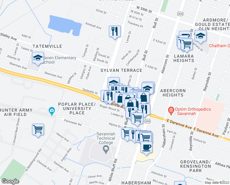 map of restaurants, bars, coffee shops, grocery stores, and more near 13 Berkley Place in Savannah