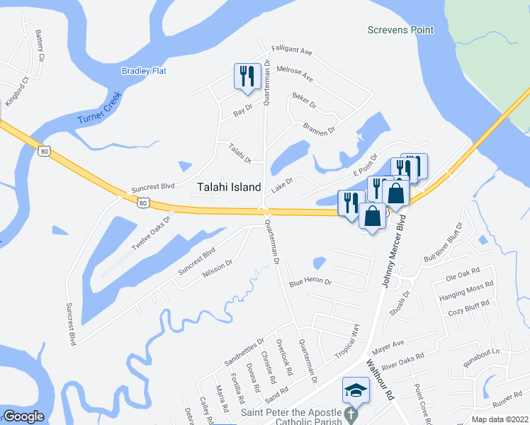 map of restaurants, bars, coffee shops, grocery stores, and more near 398 Quarterman Drive in Savannah