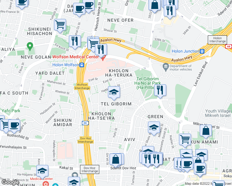 map of restaurants, bars, coffee shops, grocery stores, and more near 10 HaTe'ena Street in Holon