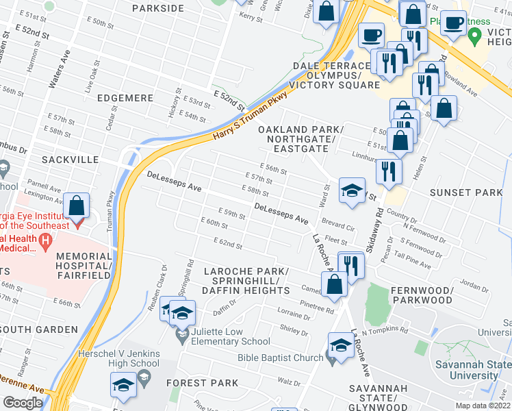 map of restaurants, bars, coffee shops, grocery stores, and more near 4309 Cuba Street in Savannah