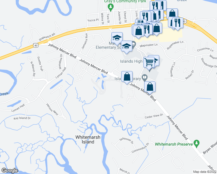map of restaurants, bars, coffee shops, grocery stores, and more near 25 Johnny Mercer Boulevard in Savannah