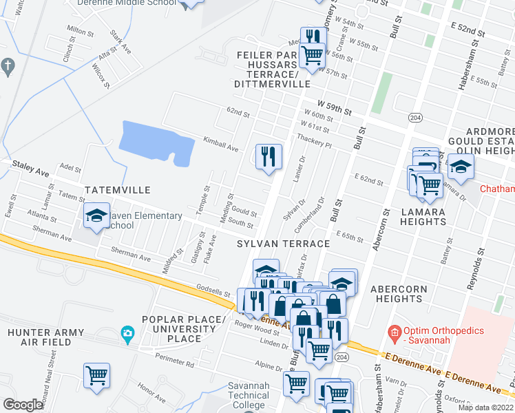 map of restaurants, bars, coffee shops, grocery stores, and more near 411 Emmit Street in Savannah