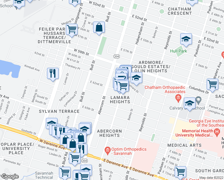 map of restaurants, bars, coffee shops, grocery stores, and more near 125 East 62nd Street in Savannah