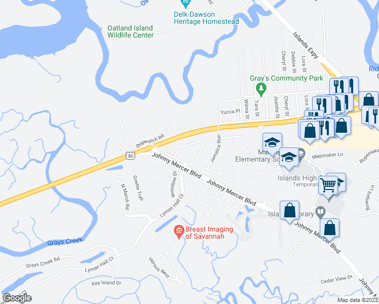 map of restaurants, bars, coffee shops, grocery stores, and more near 2 Johnny Mercer Boulevard in Savannah