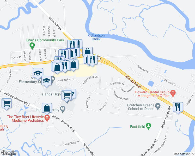 map of restaurants, bars, coffee shops, grocery stores, and more near 129 Ropemaker Lane in Savannah