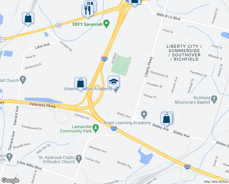 map of restaurants, bars, coffee shops, grocery stores, and more near 22 Liberty Heights Drive in Savannah