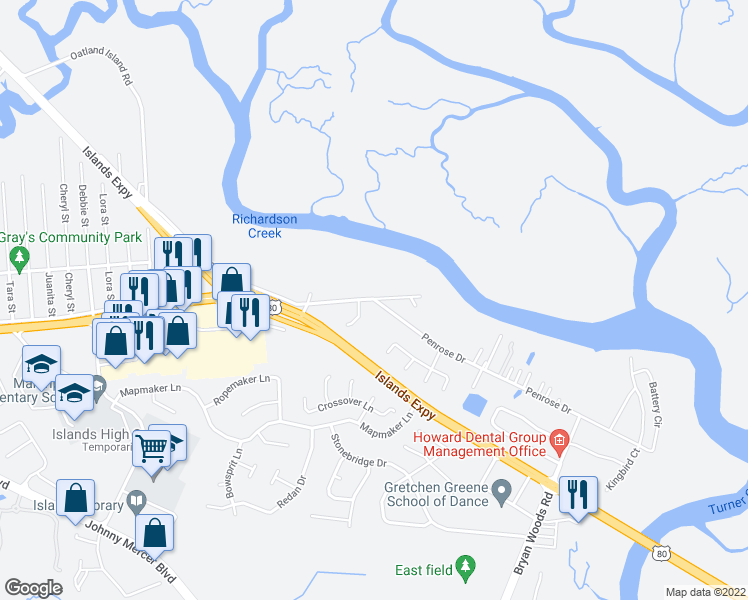 map of restaurants, bars, coffee shops, grocery stores, and more near 45 Penrose Drive in Savannah