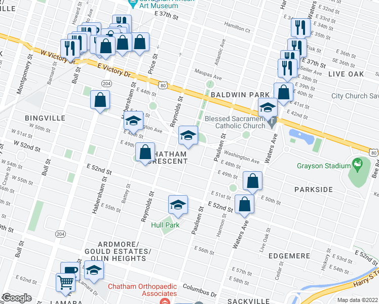 map of restaurants, bars, coffee shops, grocery stores, and more near 500 Washington Avenue in Savannah