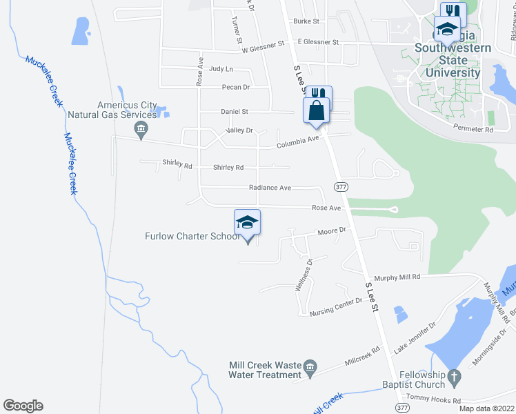 map of restaurants, bars, coffee shops, grocery stores, and more near Valley Drive in Americus
