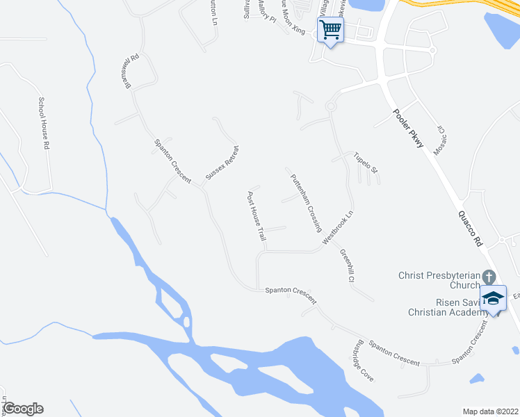 map of restaurants, bars, coffee shops, grocery stores, and more near 120 Post House Trail in Pooler