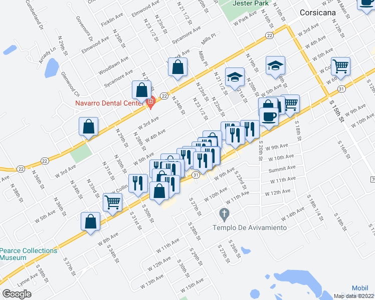 map of restaurants, bars, coffee shops, grocery stores, and more near West Collin Street in Corsicana