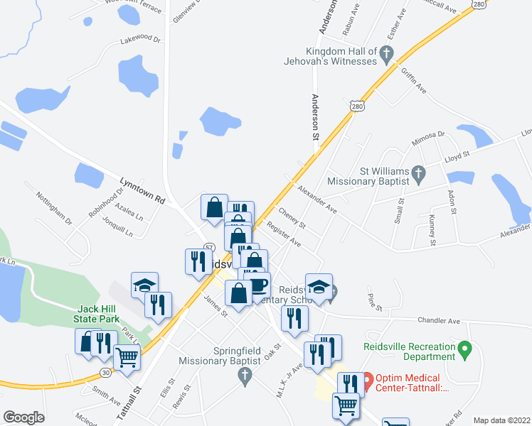 map of restaurants, bars, coffee shops, grocery stores, and more near 141 East Brazell Street in Reidsville