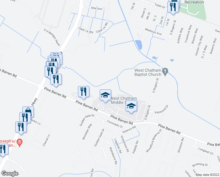 map of restaurants, bars, coffee shops, grocery stores, and more near 820 Pine Barren Road in Pooler