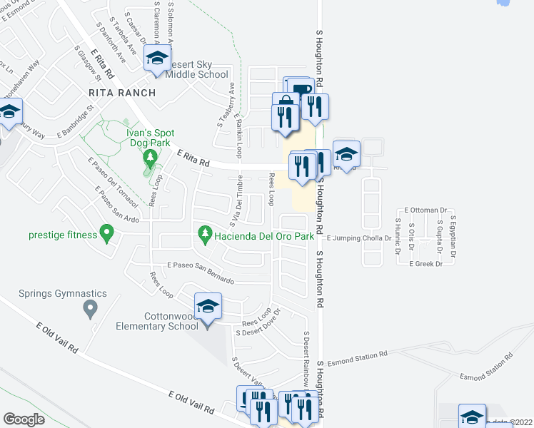 map of restaurants, bars, coffee shops, grocery stores, and more near 8333 South Vía De Ronaldo in Tucson