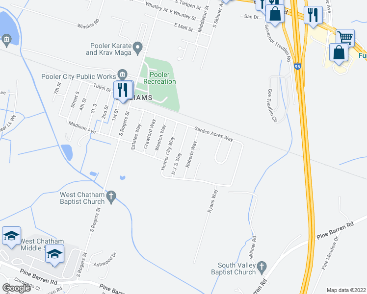 map of restaurants, bars, coffee shops, grocery stores, and more near 1218 D J 'S Way in Pooler
