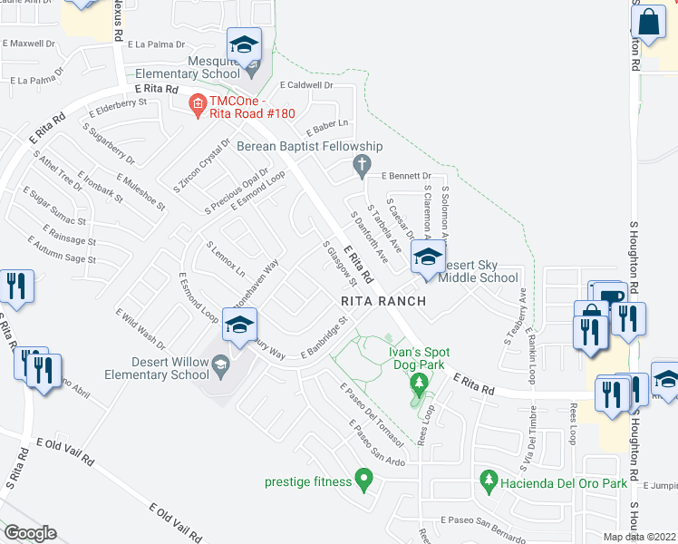 map of restaurants, bars, coffee shops, grocery stores, and more near 7924 South Glasgow Street in Tucson