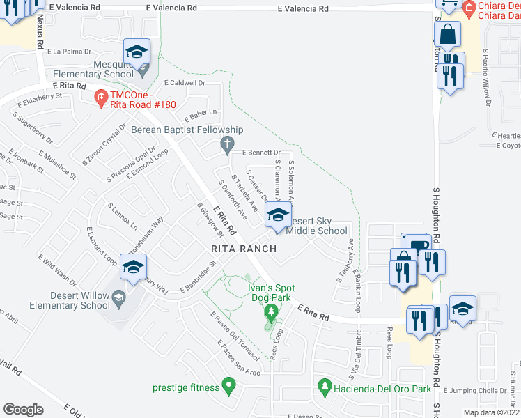 map of restaurants, bars, coffee shops, grocery stores, and more near 7901 South Tarbela Avenue in Tucson