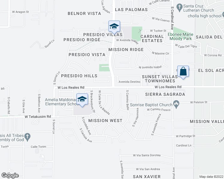 map of restaurants, bars, coffee shops, grocery stores, and more near 3329 West Los Reales Road in Tucson