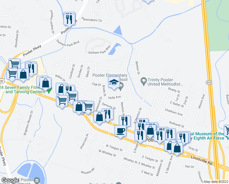 map of restaurants, bars, coffee shops, grocery stores, and more near 308 Holly Avenue in Pooler