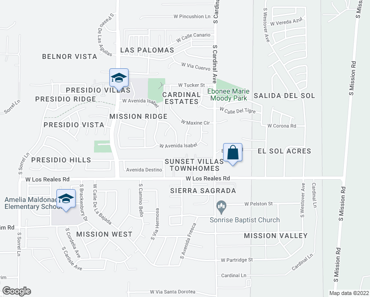 map of restaurants, bars, coffee shops, grocery stores, and more near 3025 West Avenida Isabel in Tucson
