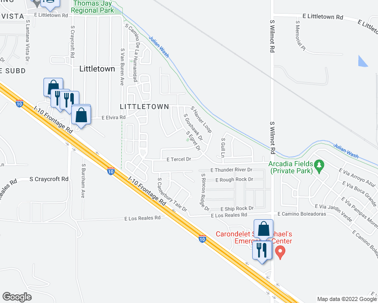map of restaurants, bars, coffee shops, grocery stores, and more near 5958 E Cedarbird Dr in Tucson