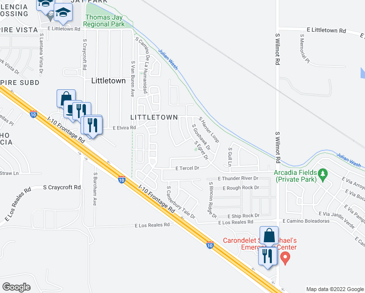 map of restaurants, bars, coffee shops, grocery stores, and more near 5914 E Curlew Ln in Tucson