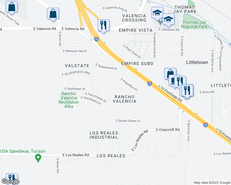 map of restaurants, bars, coffee shops, grocery stores, and more near 5081 East Fishhook Court in Tucson