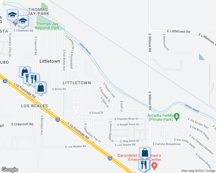 map of restaurants, bars, coffee shops, grocery stores, and more near 6897 South Harrier Loop in Tucson