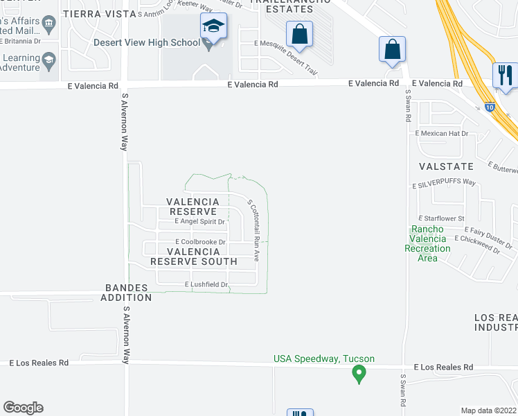 map of restaurants, bars, coffee shops, grocery stores, and more near 6863 South COTTONTAIL RUN Avenue in Tucson