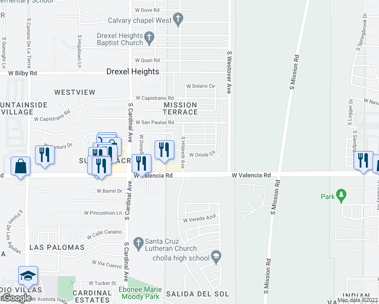 map of restaurants, bars, coffee shops, grocery stores, and more near 2640 West Oriole Circle in Tucson