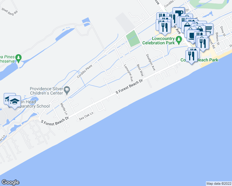 map of restaurants, bars, coffee shops, grocery stores, and more near South Forest Beach Drive in Hilton Head Island