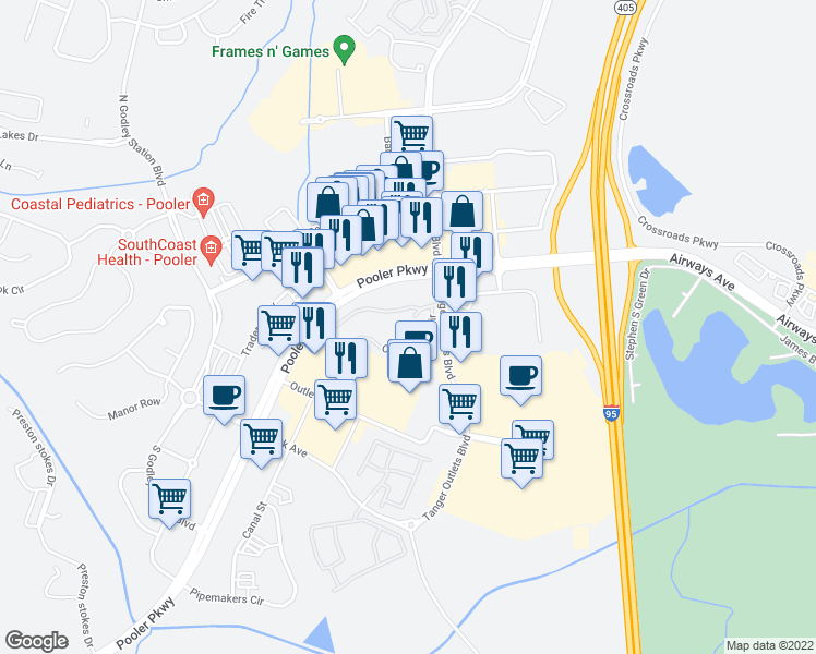 map of restaurants, bars, coffee shops, grocery stores, and more near 65 Tanger Outlet Boulevard in Pooler