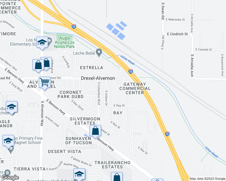 map of restaurants, bars, coffee shops, grocery stores, and more near 5762 South Catalina Avenue in Tucson