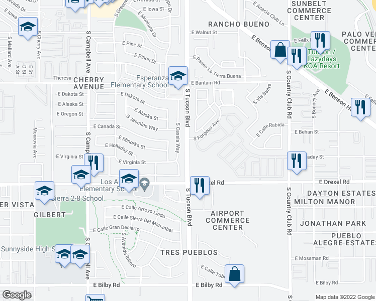 map of restaurants, bars, coffee shops, grocery stores, and more near 5353 S Tucson Blvd in Tucson
