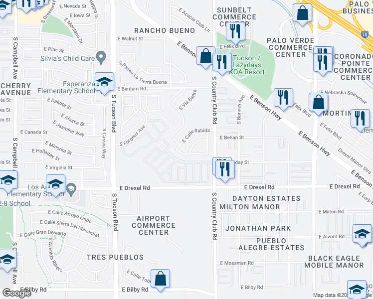map of restaurants, bars, coffee shops, grocery stores, and more near 2947 East Via Berlanga in Tucson