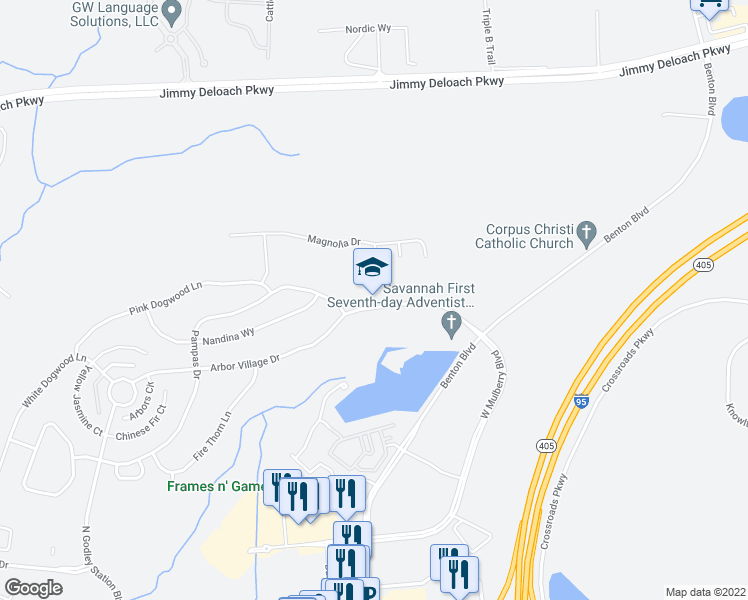map of restaurants, bars, coffee shops, grocery stores, and more near 105 Godley Way in Pooler