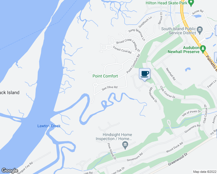 map of restaurants, bars, coffee shops, grocery stores, and more near Sea Olive Road in Hilton Head Island