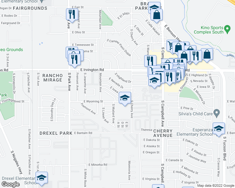 map of restaurants, bars, coffee shops, grocery stores, and more near 1446 East Iowa Drive in Tucson