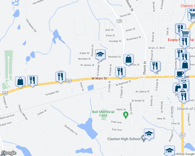 map of restaurants, bars, coffee shops, grocery stores, and more near 4 North College Street in Claxton