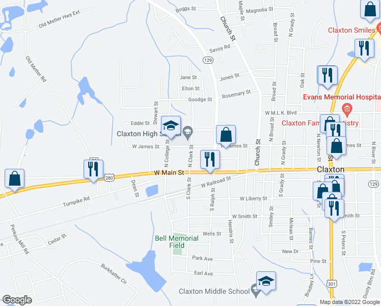 map of restaurants, bars, coffee shops, grocery stores, and more near 610 West James Street in Claxton